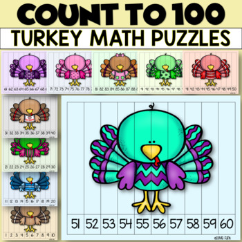 Thanksgiving Activities TEN Turkey Number Puzzles 1-100 Math Center