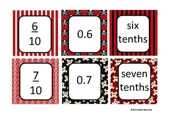 Ten Pin Bowling - Pirate Style - Decimals & Fractions (tenths)