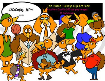 Ten Plump Turkeys Clipart Pack
