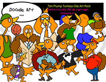 Ten Plump Turkeys Clipart Pack