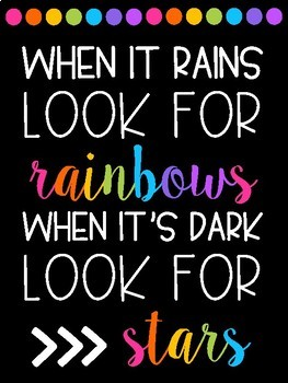 Ten Rainbow Themed Quote Posters (Black and Brights)