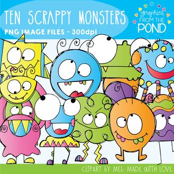 Ten Scrappy Monsters Clipart Set