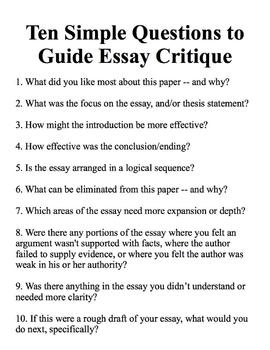 Ten Simple Questions to Guide Essay Critique