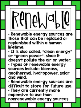 Ten Sources of Energy ~ Set of 12 Informational Posters (Color & B/W)