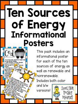 Ten Sources of Energy ~ Set of 12 Informational Posters (C