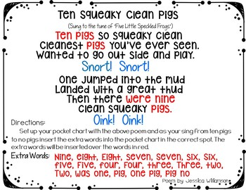 Ten Squeaky Clean Pigs (Pocket Chart Activity)