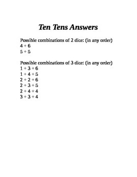 Ten Tens (Dice Addition Game)