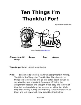 Ten Things I'm Thankful For - Small Group Reader's Theater