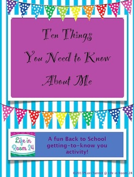 Ten Things You Need to Know About Me {Back to School Activity}
