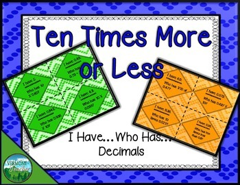 Ten Times More or Less - Decimals - I Have...Who Has...