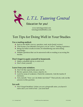Ten Tips for Doing Well in Your Studies