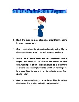 Ten Tips for Effective Classroom Management