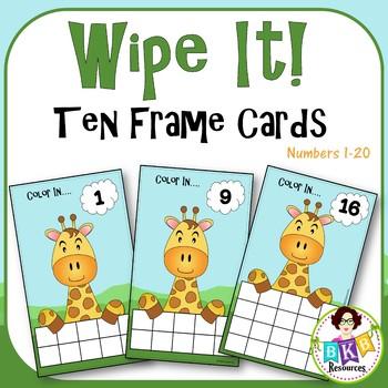 Ten & Twenty Frame Giraffe Wipe It Cards - Number 1- 20