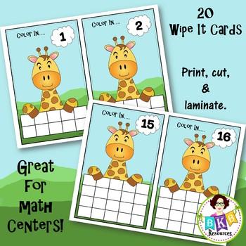 Ten Frame Activities - Giraffe Wipe It Cards - Number 1- 20