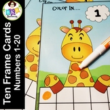 Ten Frame Activities - Giraffe Wipe It Cards - Number 1- 20