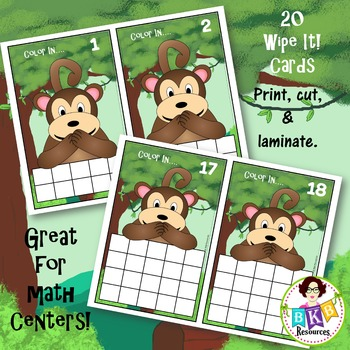 Ten & Twenty Frame Monkey Wipe It Cards - Numbers 1-20