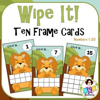 Ten & Twenty Frame Lion Wipe It Cards - Numbers 1-20