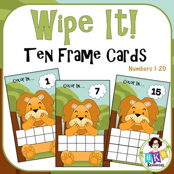 Ten & Twenty Frame Lion Wipe It Cards - Numbers 1-20
