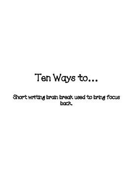 Ten Ways To...