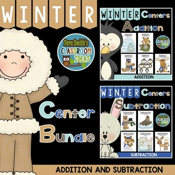 Winter Addition and Subtraction Math Center Games and Printables