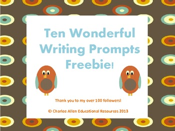 Ten Wonderful Writing Prompts Freebie!
