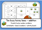 Ten busy honey bees 1-10 ADDITION up to 10 - worksheets & board game