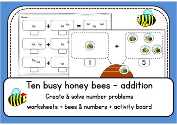 Ten busy honey bees 1-10 ADDITION up to 10 - worksheets &