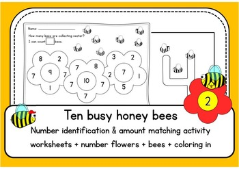 Ten busy honey bees 1-10 NUMBER RECOGNITION & AMOUNTs - worksheets & activity