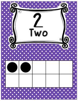 Ten frame posters rainbow polka dot