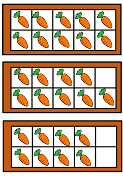 Ten frames with carrots