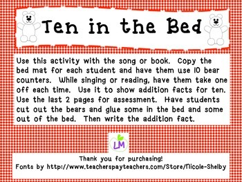 Ten in the Bed - addition facts to 10