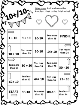 Ten more, ten less Valentine's game board