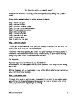 Ten steps for writing a research paper: High School edition