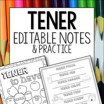 Tener Doodle Pages Worksheets Notes Spanish First Verbs