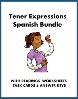 Spanish Tener Expressions Bundle: Reading, Worksheet, Task Cards @40% off!