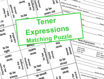 Tener Expressions - Matching Puzzle & Warm Ups