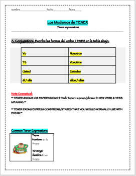 Tener Expressions Worksheet by Spicy Spanish | Teachers Pay Teachers