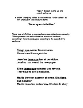 Tener Grammar Notes and Practice Exercise for Spanish