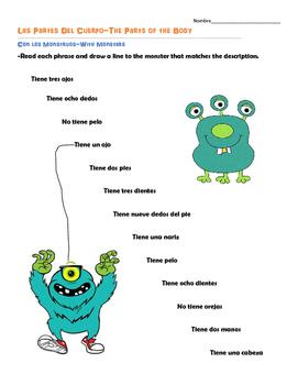 Tener+Monster Body Part Practice