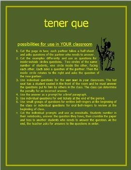 Tener Que Activity Sheet SPANISH