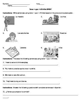 Tener Que Worksheet/Homework