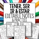 Tener Ser Ir Estar Doodle Pages Worksheets Verb Notes Spanish Bundle