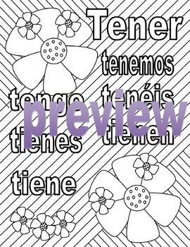 Tener - Spanish Adult Coloring Page