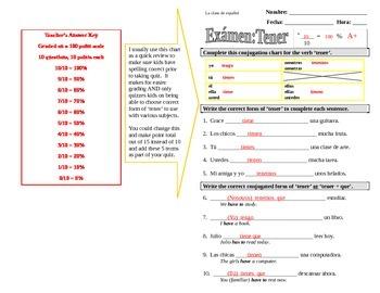 Tener - Spanish Verb Examen (Quiz)