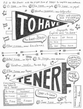 Tener Spanish verb worksheet & poster ~No prep Instant download PDF printable