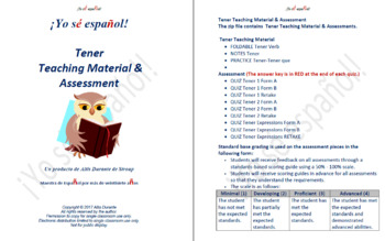 Tener  Teaching Material & Assessment