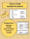 Tener & Venir Worksheet - Spanish