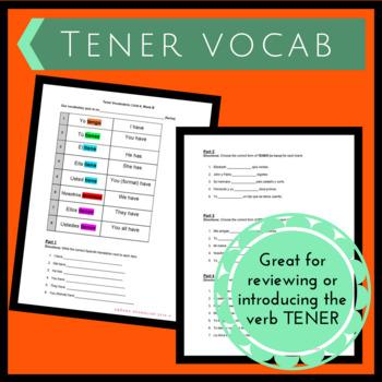 Tener Vocab Handout & Worksheet 4B