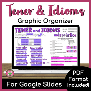 Tener and Tener Idioms Graphic Organizer