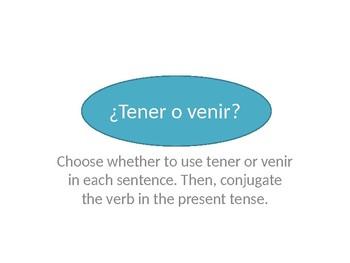 Tener and Venir Grammar Whiteboard Practice